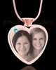 March Rose Gold Plated Heart Photo Engraved Cremation Pendant