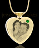 May Gold Plated Photo Engraved Heart Cremation Pendant