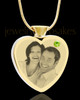 August Gold Plated Photo Engraved Heart Cremation Pendant