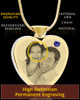 September Gold Plated Photo Engraved Heart Cremation Pendant