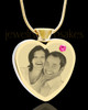 October Gold Plated Photo Engraved Heart Cremation Pendant