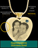 December Gold Plated Photo Engraved Heart Cremation Pendant