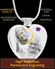 February Stainless Steel Photo Engraved Heart Cremation Pendant