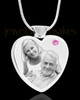 June Stainless Steel Photo Engraved Heart Cremation Pendant