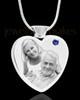 September Stainless Steel Photo Engraved Heart Cremation Pendant