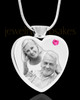 October Stainless Steel Photo Engraved Heart Cremation Pendant