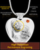 November Stainless Steel Photo Engraved Heart Cremation Pendant