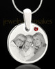 January Round Birthstone Stainless Steel Photo Pendant