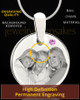 June Round Birthstone Stainless Steel Photo Pendant