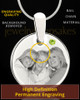 August Round Birthstone Stainless Steel Photo Pendant