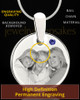 September Round Birthstone Stainless Steel Photo Pendant