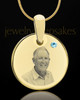 March Birthstone Gold Photo Round Pendant