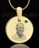 May Birthstone Gold Photo Round Pendant