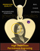 February Gold Heart Photo Engraved Pendant