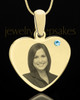 March Gold Heart Photo Engraved Pendant