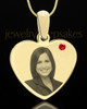 July Gold Heart Photo Engraved Pendant