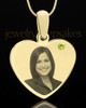 August Gold Heart Photo Engraved Pendant