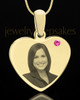 October Gold Heart Photo Engraved Pendant