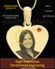 November Gold Heart Photo Engraved Pendant