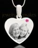 October Stainless Steel Memories Heart Photo Pendant