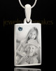 Photo Engraved December Birthstone Rectangle Pendant