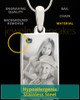 Photo Engraved December Birthstone Rectangle Pendant