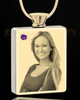 Photo Engraved February Gold Plated Rectangle Cremation Pendant