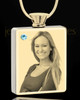 Photo Engraved March Gold Plated Rectangle Cremation Pendant