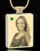 Photo Engraved May Gold Plated Rectangle Cremation Pendant