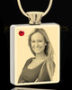 Photo Engraved July Gold Plated Rectangle Cremation Pendant