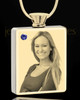 Photo Engraved September Gold Plated Rectangle Cremation Pendant