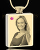 Photo Engraved October Gold Plated Rectangle Cremation Pendant