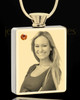 Photo Engraved November Gold Plated Rectangle Cremation Pendant