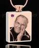 February Rose Gold Plated Photo Engraved Rectangle Cremation Pendant