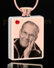 July Rose Gold Plated Photo Engraved Rectangle Cremation Pendant