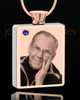 September Rose Gold Plated Photo Engraved Rectangle Cremation Pendant
