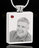 January Stainless Steel Photo Engraved Rectangle Cremation Pendant