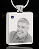 September Stainless Steel Photo Engraved Rectangle Cremation Pendant