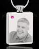 October Stainless Steel Photo Engraved Rectangle Cremation Pendant