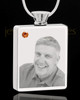 November Stainless Steel Photo Engraved Rectangle Cremation Pendant