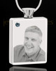 December Stainless Steel Photo Engraved Rectangle Cremation Pendant