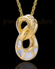 Infinity with Swarovski Stones Mother of Pearl Ash Pendant in 14K Gold
