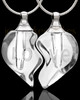 Clear Tranquil Moments Double Heart Glass Cremation Jewelry