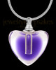 Violet Beating Heart Glass Memorial Jewelry