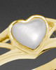 Ladies 14K Gold Mother Of Pearl Filigree Heart Ashes Ring