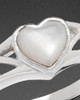 Ladies White Gold Mother Of Pearl Filigree Heart Cremation Ring