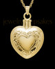 Cremation Remains Jewelry Etched Double Gold Plated Heart