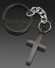 Memorable Cross Stainless Steel Black Plated Cremation Keychain