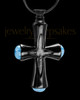 Black Plated Blue Adorn Cross Cremation Urn Pendant