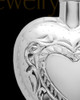Cremation Remains Jewelry Etched Double 14k White Gold Heart